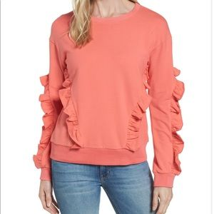 Halogen Ruffle Sweatshirt Small Coral Sugar Peach
